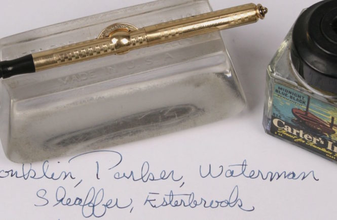 fountain pen, rest and ink