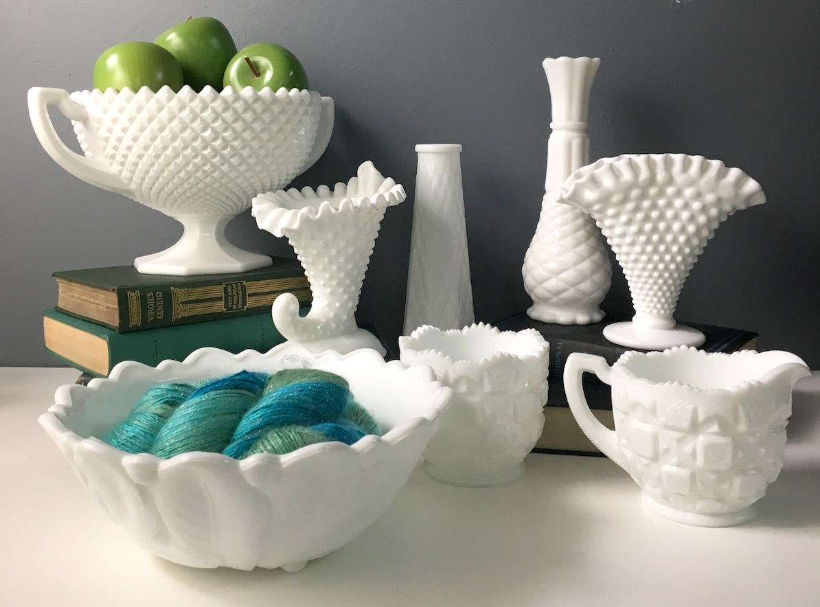milk glass in various shapes and sizes