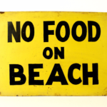 Vintage No Food On The Beach metal sign