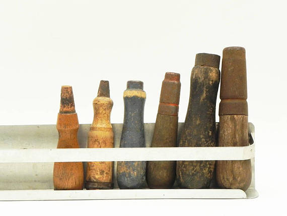 salvaged wooden tool handles
