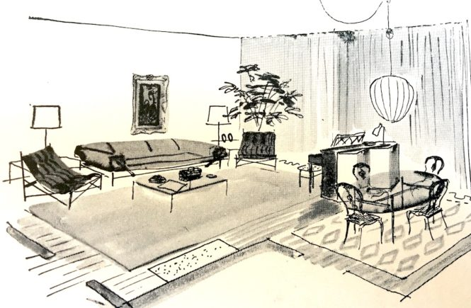 1950s room illustration